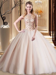 Cheap Peach Scoop Neckline Beading Sweet 16 Dress Sleeveless Lace Up
