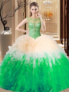 Sophisticated Scoop Multi-color Lace Up Sweet 16 Dress Beading Sleeveless Floor Length