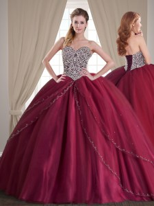 Elegant Tulle Sleeveless With Train Quince Ball Gowns Brush Train and Beading
