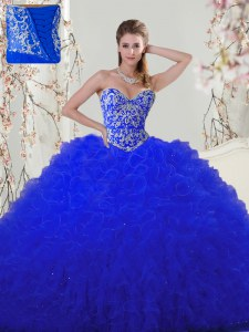 Floor Length Ball Gowns Sleeveless Royal Blue Quinceanera Gown Lace Up