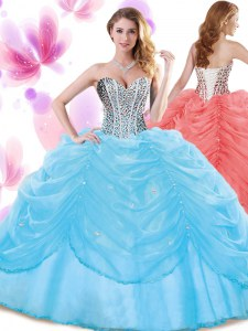 Noble Baby Blue Organza Lace Up 15 Quinceanera Dress Sleeveless Floor Length Beading and Pick Ups