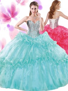 Turquoise Sleeveless Floor Length Beading and Pick Ups Lace Up Ball Gown Prom Dress