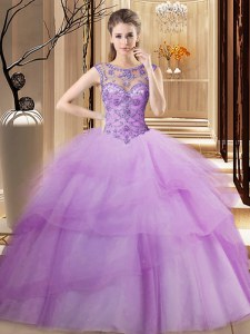 Sweet Lilac Scoop Neckline Beading and Ruffled Layers Vestidos de Quinceanera Sleeveless Lace Up