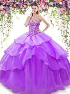 Sleeveless Organza Floor Length Lace Up 15th Birthday Dress in Lavender with Beading and Ruffled Layers