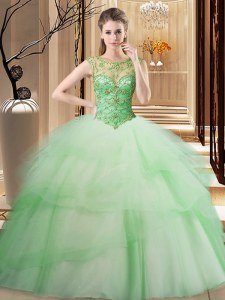 Beauteous Apple Green Ball Gowns Tulle Scoop Sleeveless Beading and Ruffled Layers Lace Up Sweet 16 Dresses Brush Train
