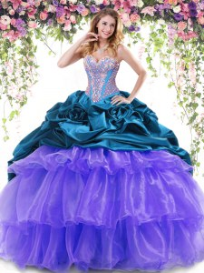 With Train Multi-color Quinceanera Gowns Organza and Taffeta Brush Train Sleeveless Beading and Ruffled Layers and Pick Ups