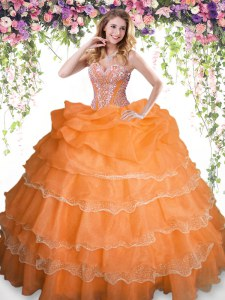 Pick Ups Ruffled Orange Sleeveless Organza Lace Up Ball Gown Prom Dress for Military Ball and Sweet 16 and Quinceanera