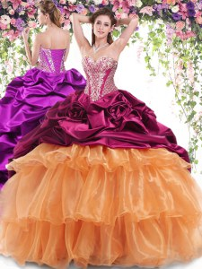 Sumptuous Multi-color Ball Gowns Beading and Ruffled Layers and Pick Ups Sweet 16 Dress Lace Up Organza and Taffeta Sleeveless With Train