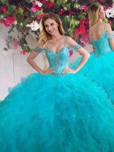 New Style Teal Off The Shoulder Neckline Beading and Ruffles Quinceanera Gown Sleeveless Lace Up