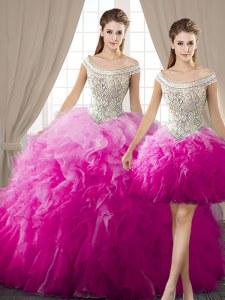 Luxurious Three Piece Ball Gowns Quinceanera Dresses Fuchsia Off The Shoulder Organza Sleeveless Floor Length Lace Up