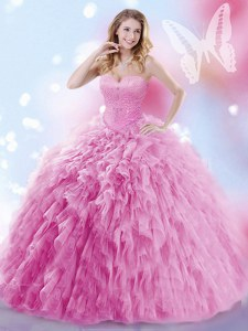 Lace Up Quince Ball Gowns Rose Pink for Military Ball and Sweet 16 and Quinceanera with Beading and Ruffles Brush Train