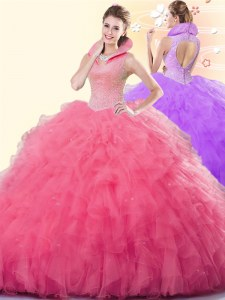 Sleeveless Beading and Ruffles Backless Quince Ball Gowns