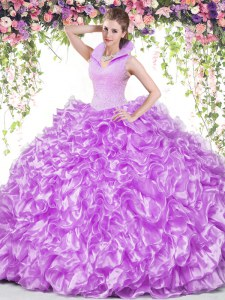 Smart Lilac Ball Gowns Organza High-neck Sleeveless Beading and Ruffles Floor Length Backless Sweet 16 Dress