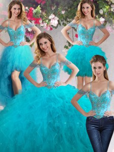 Four Piece Off the Shoulder Teal Ball Gowns Beading and Ruffles Quince Ball Gowns Lace Up Tulle Sleeveless Floor Length