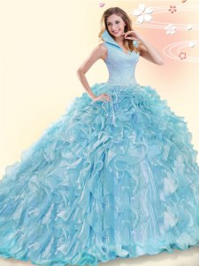 Amazing Backless High-neck Sleeveless Quinceanera Dresses Brush Train Beading and Ruffles Aqua Blue Organza