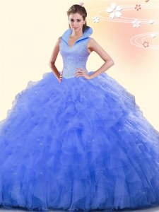 Stunning Blue High-neck Neckline Beading and Ruffles Ball Gown Prom Dress Sleeveless Backless