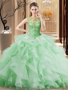Artistic Apple Green Sweet 16 Dress Scoop Sleeveless Brush Train Lace Up