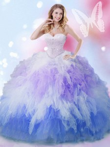 Tulle Sweetheart Sleeveless Lace Up Beading and Ruffles 15th Birthday Dress in Multi-color