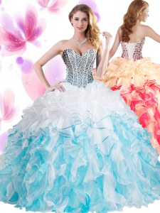 Beading and Ruffles Ball Gown Prom Dress Blue And White Lace Up Sleeveless Floor Length