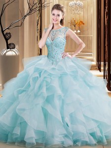 Affordable Light Blue Scoop Lace Up Beading and Ruffles Sweet 16 Dress Brush Train Sleeveless
