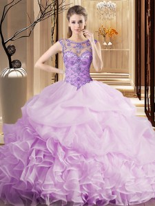 Comfortable Scoop Beading and Ruffles and Pick Ups 15 Quinceanera Dress Lilac Lace Up Sleeveless Brush Train