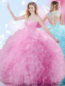 Rose Pink Sweet 16 Quinceanera Dress Military Ball and Sweet 16 and Quinceanera and For with Beading and Ruffles and Pick Ups High-neck Sleeveless Zipper
