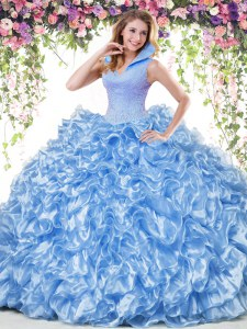 Backless Floor Length Blue Vestidos de Quinceanera Organza Sleeveless Beading and Ruffles