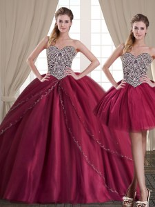 Three Piece Sweetheart Sleeveless Quinceanera Dress Floor Length Beading Burgundy Tulle