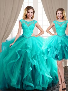 Smart Three Piece Aqua Blue Scoop Neckline Beading and Appliques and Ruffles Sweet 16 Dress Cap Sleeves Lace Up