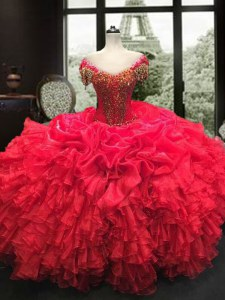 Latest Red Sweetheart Lace Up Beading and Ruffles Sweet 16 Dress Cap Sleeves