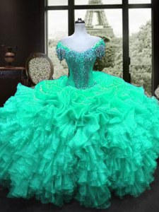 Suitable Turquoise Sweetheart Lace Up Beading and Ruffles 15th Birthday Dress Cap Sleeves