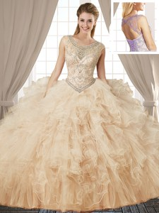 Captivating Scoop Sleeveless Beading and Ruffles Lace Up Quince Ball Gowns