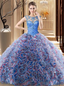 Multi-color Ball Gowns Scoop Sleeveless Fabric With Rolling Flowers Brush Train Lace Up Beading 15 Quinceanera Dress