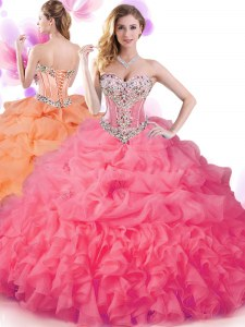 Hot Pink Sweetheart Neckline Beading and Ruffles and Pick Ups Quinceanera Dresses Sleeveless Lace Up
