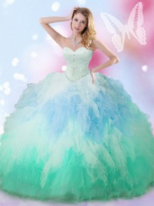 Custom Fit Sleeveless Floor Length Beading and Ruffles Lace Up Sweet 16 Dress with Multi-color