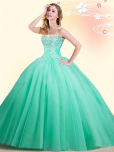 Beading 15th Birthday Dress Apple Green Lace Up Sleeveless Floor Length