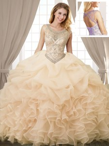Hot Sale Scoop Sleeveless Sweet 16 Dress Floor Length Beading and Ruffles and Pick Ups Champagne Organza