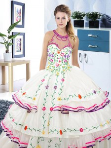 Fancy Halter Top White Lace Up Quinceanera Gowns Embroidery and Ruffled Layers Sleeveless Floor Length