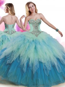 Modern Multi-color Sleeveless Tulle Lace Up 15 Quinceanera Dress for Military Ball and Sweet 16 and Quinceanera