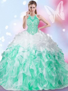 Beautiful Multi-color Lace Up Halter Top Beading and Ruffles and Pick Ups Quinceanera Dress Organza Sleeveless