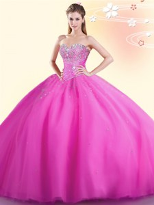 Sleeveless Floor Length Beading Lace Up Quince Ball Gowns with Hot Pink