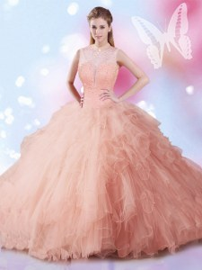 On Sale Peach Sleeveless Tulle Lace Up Quinceanera Dresses for Military Ball and Sweet 16 and Quinceanera