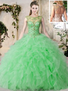 Sumptuous Scoop Sleeveless Organza Floor Length Lace Up Quinceanera Dresses in Green with Beading and Ruffles