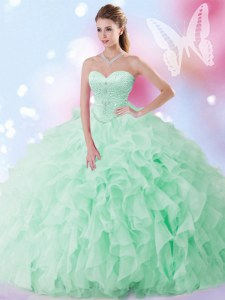 Hot Sale Apple Green Sleeveless Beading and Ruffles Floor Length Quince Ball Gowns