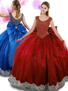 Adorable Scoop Wine Red Organza Zipper Quince Ball Gowns Sleeveless Floor Length Beading and Appliques and Bowknot