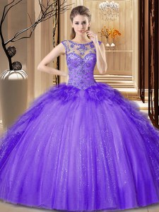 Purple Ball Gowns Tulle Scoop Sleeveless Sequins Floor Length Lace Up Quinceanera Gown