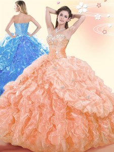 Pick Ups Sweetheart Sleeveless Lace Up Ball Gown Prom Dress Orange Organza