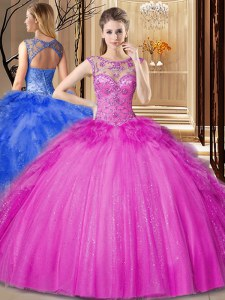 Scoop Sleeveless Tulle Floor Length Lace Up 15 Quinceanera Dress in Hot Pink with Beading and Ruffles