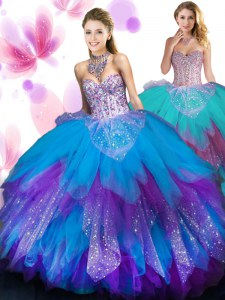 Stylish Multi-color Sweet 16 Dresses Military Ball and Sweet 16 and Quinceanera and For with Beading and Ruffled Layers Sweetheart Sleeveless Lace Up