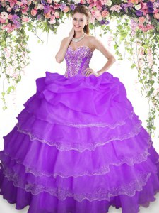 Sophisticated Purple Sleeveless Floor Length Beading and Ruffled Layers and Pick Ups Lace Up Ball Gown Prom Dress